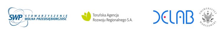Loga Stowarzyszenia Wolnej Przedsiębiorczości, Toruńskiej Agencji Rozwoju Regionalnego S.A. oraz DELab