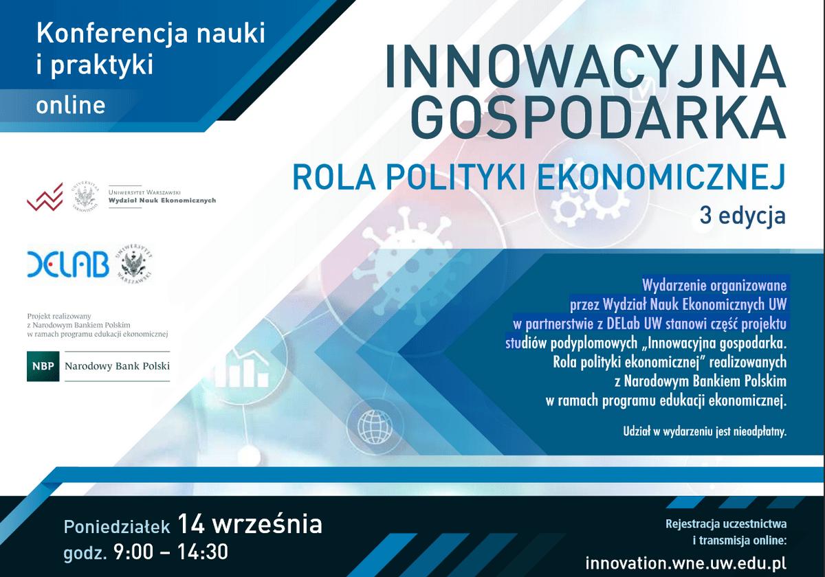"""Konferencja """"Innowacyjna gospodarka. Rola polityki ekonomicznej"""" – 14.09.2020"""